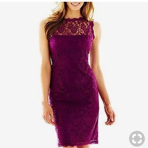 Lilliana Lace Rose Dress in Magenta
